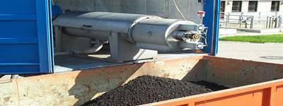 Prensa de tornillo marca HUBER para desaguado de lodos de plantas de tratamiento de aguas residuales
