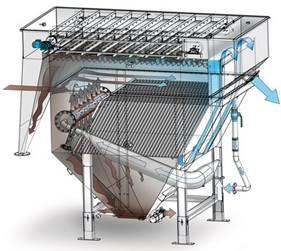 Esquema en 3D del funcionamiento de una planta de flotación por aire disuelto DAF marca HUBER
