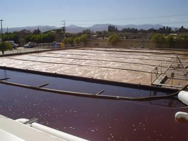 Tanque de lodos activados en una planta de tratamiento de aguas