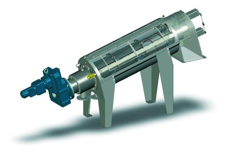 Modelo 3D de una prensa de tornillo para deshidratación de lodos
